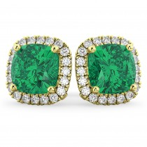 Halo Cushion Emerald & Diamond Earrings 14k Yellow Gold (4.04 ct)