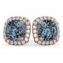 Halo Cushion Gray Spinel & Diamond Earrings 14k Rose Gold (4.04ct)