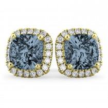 Halo Cushion Gray Spinel & Diamond Earrings 14k Yellow Gold (4.04ct)