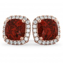 Halo Cushion Garnet & Diamond Earrings 14k Rose Gold (4.04ct)