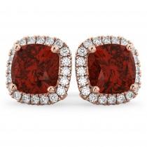 Halo Cushion Garnet & Diamond Earrings 14k Rose Gold (4.04ct)