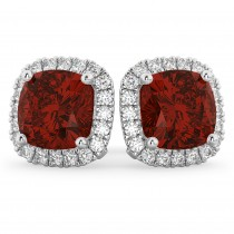 Halo Cushion Garnet & Diamond Earrings 14k White Gold (4.04 ct)