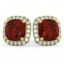 Halo Cushion Garnet & Diamond Earrings 14k Yellow Gold (4.04ct)