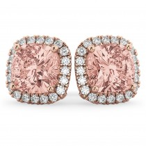 Halo Cushion Morganite & Diamond Earrings 14k Rose Gold (4.04ct)