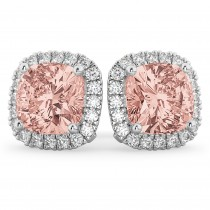Halo Cushion Morganite & Diamond Earrings 14k White Gold (4.04ct)