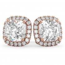 Halo Cushion Moissanite & Diamond Earrings 14k Rose Gold (3.52ct)