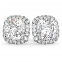 Halo Cushion Moissanite & Diamond Earrings 14k White Gold (3.52 ct)
