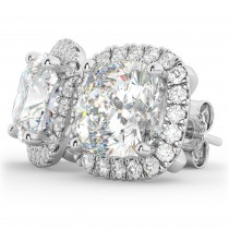 Halo Cushion Moissanite & Diamond Earrings 14k White Gold (3.52ct)