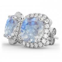 Halo Cushion Moonstone & Diamond Earrings 14k White Gold (4.04ct)