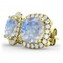 Halo Cushion Moonstone & Diamond Earrings 14k Yellow Gold (4.04ct)