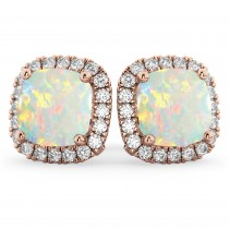 Halo Cushion Opal & Diamond Earrings 14k Rose Gold (4.04ct)