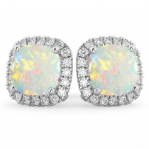 Halo Cushion Opal & Diamond Earrings 14k White Gold (4.04ct)