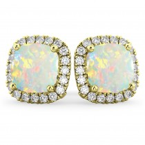 Halo Cushion Opal & Diamond Earrings 14k Yellow Gold (4.04ct)