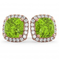 Halo Cushion Peridot & Diamond Earrings 14k Rose Gold (4.04ct)