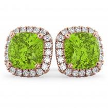 Halo Cushion Peridot & Diamond Earrings 14k Rose Gold (4.04 ct)