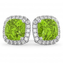 Halo Cushion Peridot & Diamond Earrings 14k White Gold (4.04ct)