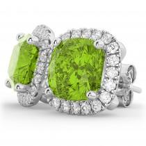 Halo Cushion Peridot & Diamond Earrings 14k White Gold (4.04ct)