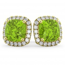 Halo Cushion Peridot & Diamond Earrings 14k Yellow Gold (4.04ct)