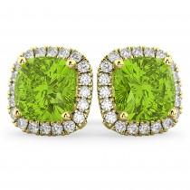 Halo Cushion Peridot & Diamond Earrings 14k Yellow Gold (4.04 ct)
