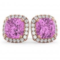 Halo Cushion Pink Sapphire & Diamond Earrings 14k Rose Gold (4.04ct)