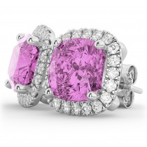 Halo Cushion Pink Sapphire & Diamond Earrings 14k White Gold (4.04ct)