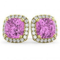 Halo Cushion Pink Sapphire & Diamond Earrings 14k Yellow Gold (4.04ct)