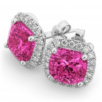 Halo Cushion Pink Tourmaline & Diamond Earrings 14k White Gold (4.04ct)