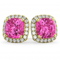 Halo Cushion Pink Tourmaline & Diamond Earrings 14k Yellow Gold (4.04ct)