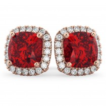 Halo Cushion Ruby & Diamond Earrings 14k Rose Gold (4.04ct)