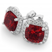 Halo Cushion Ruby & Diamond Earrings 14k White Gold (4.04ct)