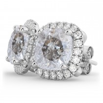 Cushion Cut Salt & Pepper Diamond & Diamond Earrings 14k White Gold (3.10ct)