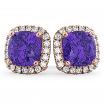 Halo Cushion Tanzanite & Diamond Earrings 14k Rose Gold (4.04 ct)