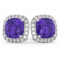Halo Cushion Tanzanite & Diamond Earrings 14k White Gold (4.04ct)