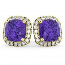 Halo Cushion Tanzanite & Diamond Earrings 14k Yellow Gold (4.04ct)