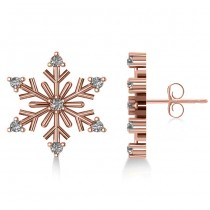Diamond Snowflake Winter Earrings 14k Rose Gold (0.15ct)