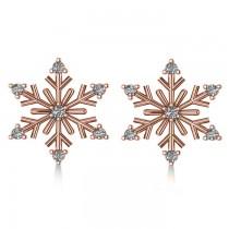 Diamond Snowflake Winter Earrings 14k Rose Gold (0.15ct)