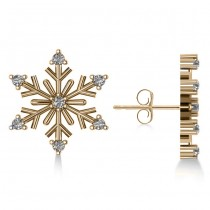 Diamond Snowflake Winter Earrings 14k Yellow Gold (0.15ct)