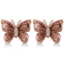 Diamond Butterfly Stud Earrings 14k Rose Gold (0.02ct)|escape