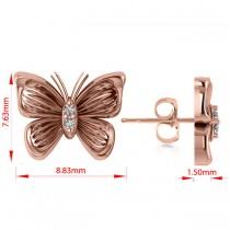 Diamond Butterfly Stud Earrings 14k Rose Gold (0.02ct)
