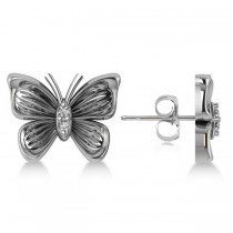 Diamond Butterfly Stud Earrings 14k White Gold (0.02ct)