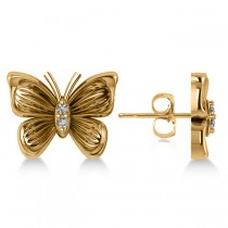 Diamond Butterfly Stud Earrings 14k Yellow Gold (0.02ct)