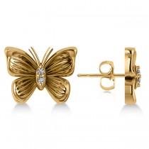 Diamond Butterfly Stud Earrings 14k Yellow Gold (0.02ct)