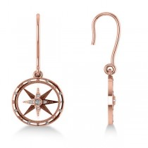 Diamond Nautical Dangle Compass Earrings 14k Rose Gold (0.16ct)