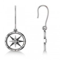 Diamond Nautical Dangle Compass Earrings 14k White Gold (0.16ct)