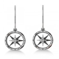 Diamond Nautical Dangle Compass Earrings 14k White Gold (0.16ct)|escape