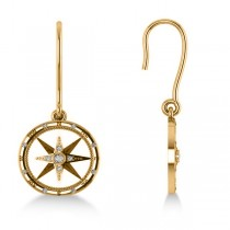 Diamond Nautical Dangle Compass Earrings 14k Yellow Gold (0.16ct)