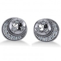 Diamond Crescent Moon and Stars Earrings 14k White Gold (0.28ct)|escape