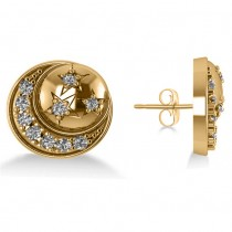 Diamond Crescent Moon and Stars Earrings 14k Yellow Gold (0.28ct)