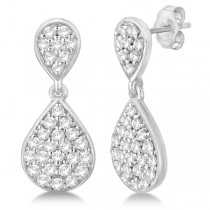 Pave Set Diamond  Dangle Teardrop Earrings in 14k White Gold (1.20ct)