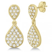 Pave Set Diamond Dangle Teardrop Earrings in 14k Yellow Gold (1.20ct)
